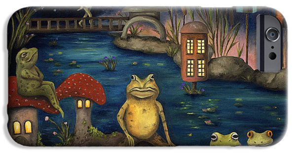 Amphibian iPhone Cases - Frogland iPhone Case by Leah Saulnier The Painting Maniac