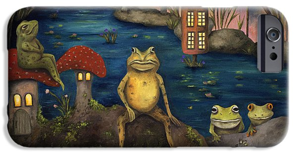 River iPhone Cases - Frogland iPhone Case by Leah Saulnier The Painting Maniac