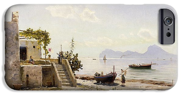 Water Vessels Paintings iPhone Cases - From Sorrento Towards Capri iPhone Case by Peder Monsted