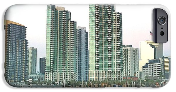 City Scape Digital Art iPhone Cases - From the Dock iPhone Case by Ron Bissett