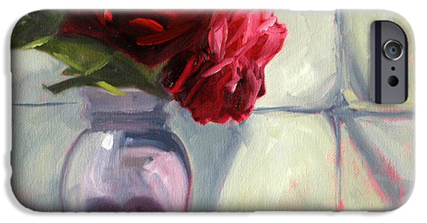 Business Paintings iPhone Cases - From the Garden iPhone Case by Nancy Merkle