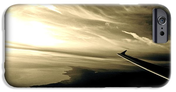 Planes Photographs iPhone Cases - From the Plane iPhone Case by Gwyn Newcombe