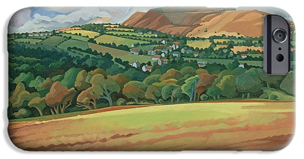 Agriculture iPhone Cases - From The Train South Devon, No.2 Oil On Canvas iPhone Case by Anna Teasdale