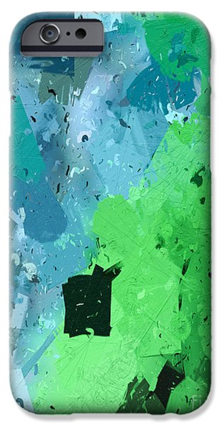 Geometric Effect iPhone Cases - From Winter Blues To Spring Greens iPhone Case by Heidi Smith
