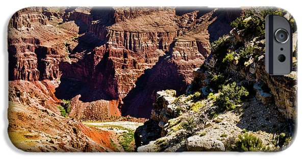 Grand Canyon Mixed Media iPhone Cases - From Yaki Point 1 Grand Canyon iPhone Case by  Bob and Nadine Johnston
