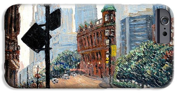 Toronto Paintings iPhone Cases - Front And Church iPhone Case by Ian  MacDonald