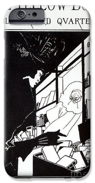 Store Fronts Paintings iPhone Cases - Front cover of the prospectus for The Yellow Book iPhone Case by Aubrey Beardsley