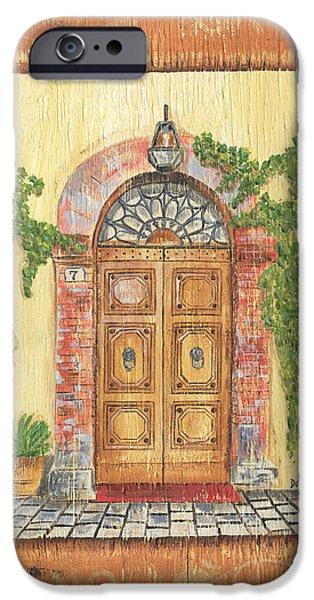 Brick Paintings iPhone Cases - Front Door 2 iPhone Case by Debbie DeWitt