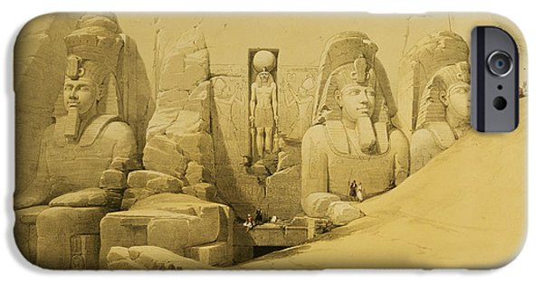 Remnant iPhone Cases - Front Elevation of the Great Temple of Aboo Simbel iPhone Case by David Roberts