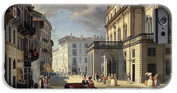 Balcony iPhone Cases - Front Of La Scala Theatre, 1852 Oil On Canvas iPhone Case by Angelo Inganni