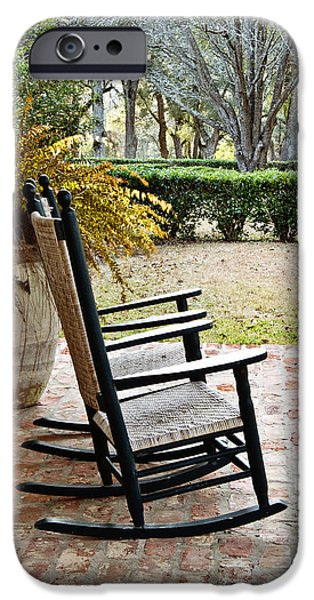 Rocking Chairs Photographs iPhone Cases - Front Porch Rockers iPhone Case by Scott Pellegrin