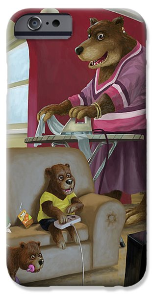 front room bear family son playing computer game iPhone Case by Martin Davey