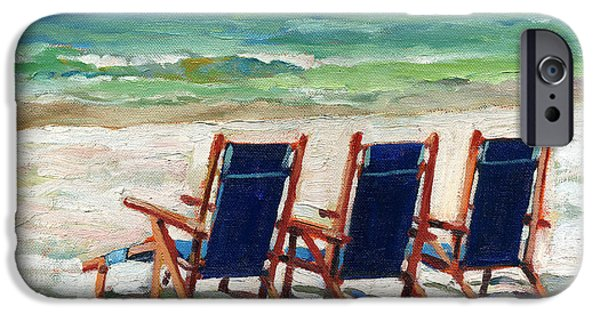 Empty Chairs Paintings iPhone Cases - Front Row Seats iPhone Case by Joseph M  Scott