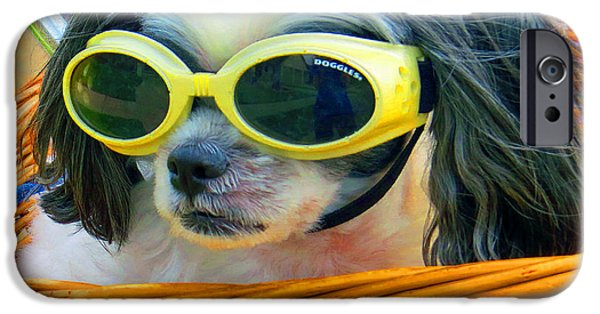 Puppy Digital Art iPhone Cases - Front Seat Driver - Puppy Mania iPhone Case by Ella Kaye Dickey