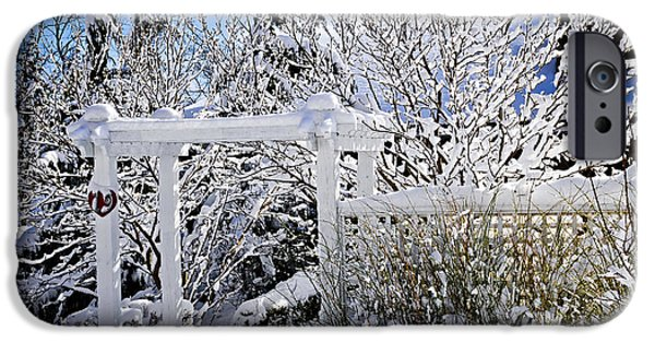House iPhone Cases - Front yard of a house in winter iPhone Case by Elena Elisseeva