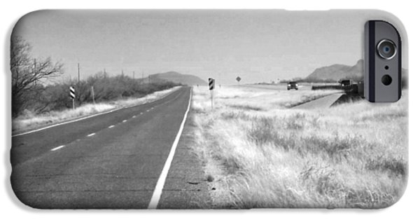 Asphalt iPhone Cases - Frontage Road West Texas iPhone Case by Marcia Mauskopf