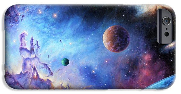 Exoplanet Paintings iPhone Cases - Frontiers of the Cosmos iPhone Case by Lucy West