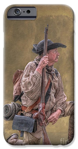 American Revolution Digital Art iPhone Cases - Frontiersman Golden Morning iPhone Case by Randy Steele