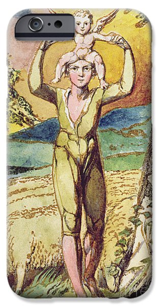 William Blake Drawings iPhone Cases - Frontispiece from Songs of Innocence iPhone Case by William Blake