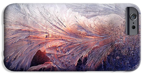 Abstractions iPhone Cases - Frost on a Windowpane at Sunrise iPhone Case by Thomas R Fletcher