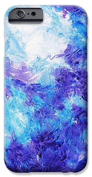 Blue Abstracts iPhone Cases - Frosted Blues Fantasy I iPhone Case by Irina Sztukowski