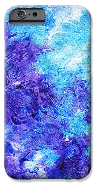 Technique iPhone Cases - Frosted Blues Fantasy III iPhone Case by Irina Sztukowski