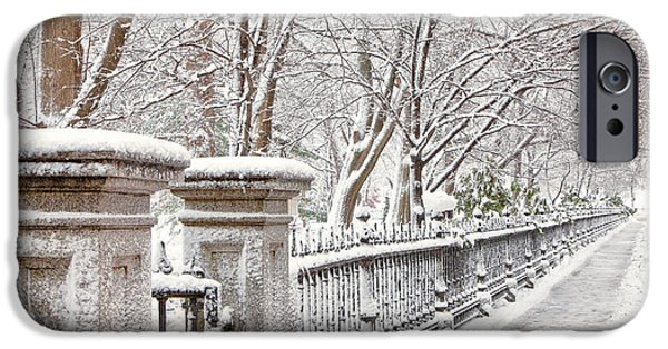 City. Boston iPhone Cases - Frosted Fence iPhone Case by Susan Cole Kelly