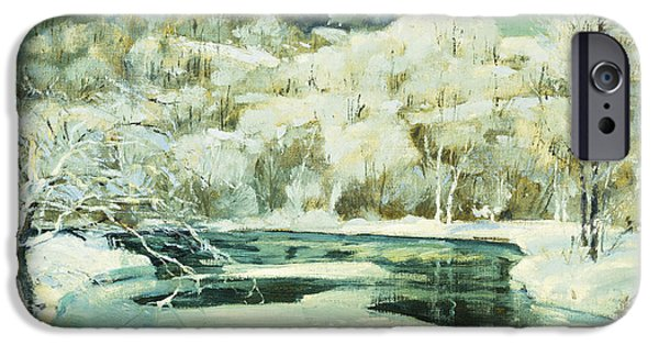 Snowy Day iPhone Cases - Frosted Trees iPhone Case by Jonas Lie