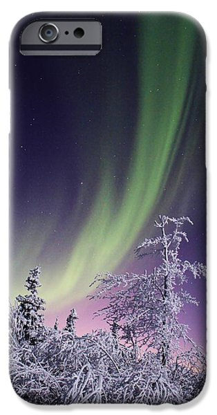 David iPhone Cases - Frosty Aurora iPhone Case by David Broome
