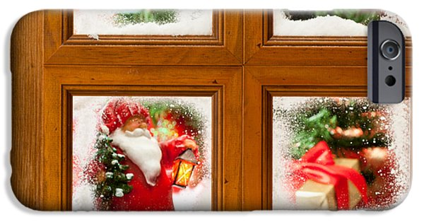 Snowy Scene iPhone Cases - Frosty Christmas Window iPhone Case by Amanda And Christopher Elwell