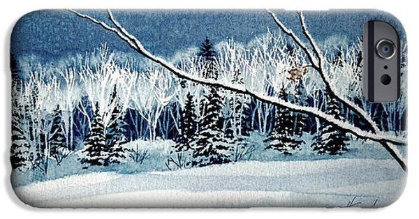 Winter Scene iPhone Cases - Frosty Forest Valley iPhone Case by Hanne Lore Koehler