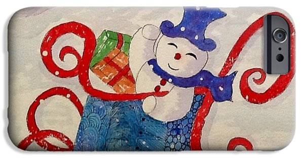 Wintertime Mixed Media iPhone Cases - Frosty In His Sleigh2 iPhone Case by Bonnie Wright