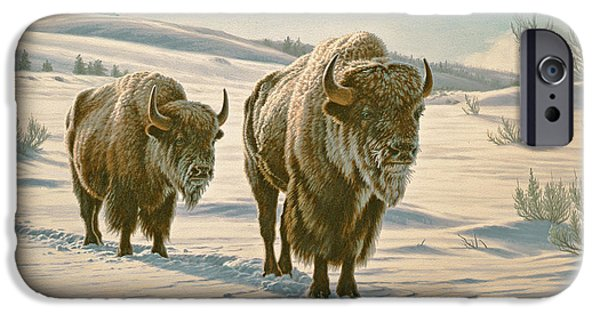 Bison iPhone Cases - Frosty Morning - Buffalo iPhone Case by Paul Krapf