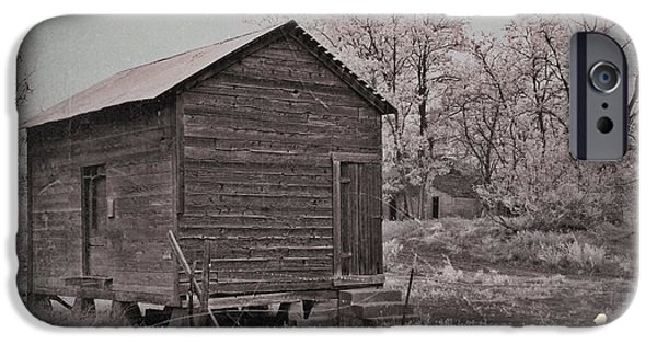 Shed Mixed Media iPhone Cases - Frosty Morning Sepia 2 iPhone Case by Chalet Roome-Rigdon