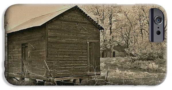 Shed Mixed Media iPhone Cases - Frosty Morning Sepia 5 iPhone Case by Chalet Roome-Rigdon