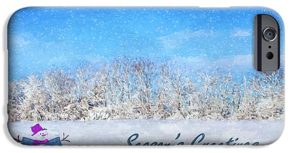 Wintertime iPhone Cases - Frosty Seasons Greetings iPhone Case by Darren Fisher