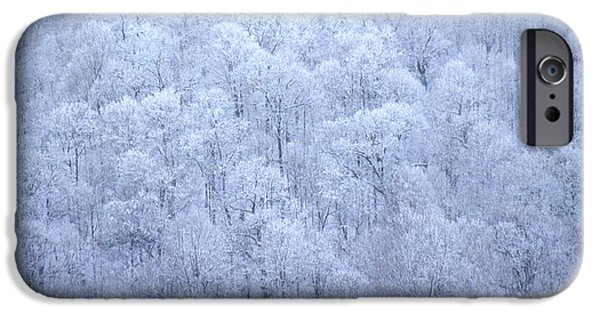 Winter Storm iPhone Cases - Frosty Tops iPhone Case by Joe  Connors