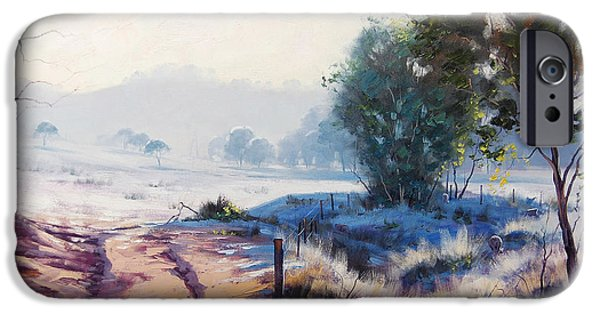 Sheep Grazing iPhone Cases - Frosty Winter Light iPhone Case by Graham Gercken