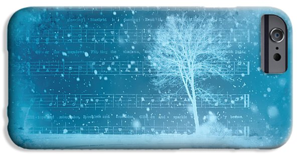 Snowy Night Mixed Media iPhone Cases - Frosty Winter Night iPhone Case by Linda Muir