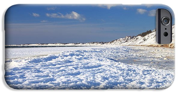 Massachusetts Coast iPhone Cases - Frozen Cape Cod Bay Beach in Winter iPhone Case by John Burk