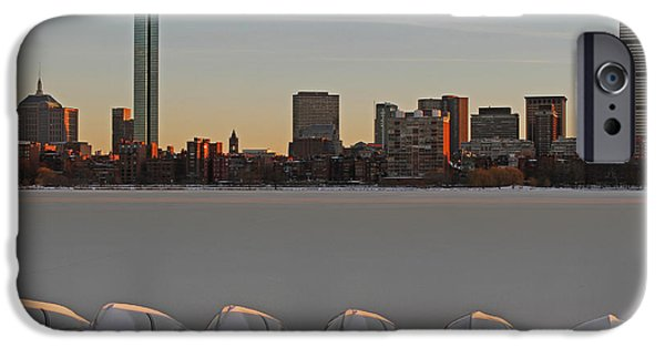 Charles River iPhone Cases - Frozen Charles iPhone Case by Juergen Roth