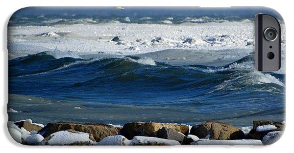 Harbor Sesuit Harbor iPhone Cases - Frozen Coastline iPhone Case by Dianne Cowen