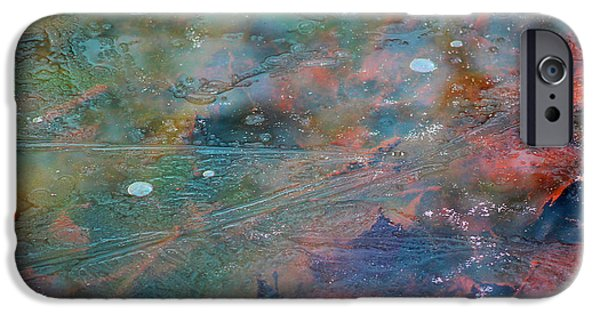 Snow Scene iPhone Cases - Frozen Color Abstract iPhone Case by Karen Adams