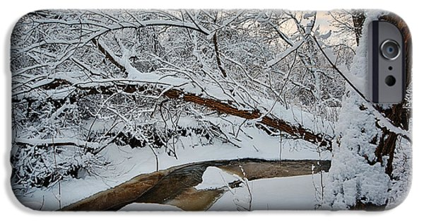 Solitude Photographs iPhone Cases - Frozen Creek iPhone Case by Sebastian Musial