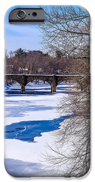 Winter Scene iPhone Cases - Frozen Farmington River iPhone Case by Libby  Lord