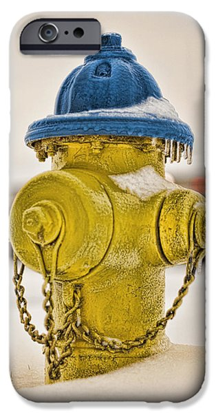 Winter Storm Digital iPhone Cases - Frozen Fire Hydrant iPhone Case by Brett Engle