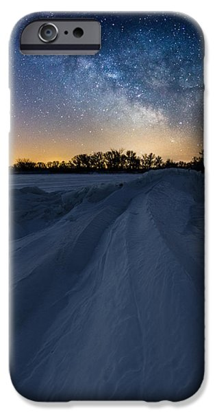 Venus iPhone Cases - Frozen Lake Minnewaska Milky Way iPhone Case by Aaron J Groen