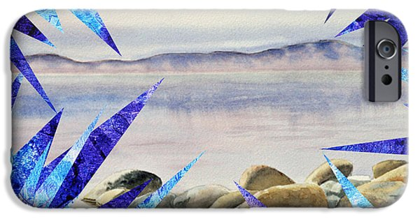 Abstractions iPhone Cases - Frozen Lake Tahoe Abstract Collage iPhone Case by Irina Sztukowski
