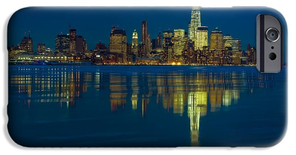 Hudson River iPhone Cases - Frozen Lower Manhattan NYC iPhone Case by Susan Candelario