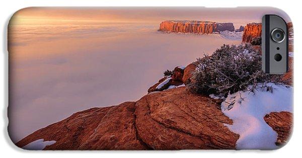 Fog Mist iPhone Cases - Frozen Mesa iPhone Case by Chad Dutson
